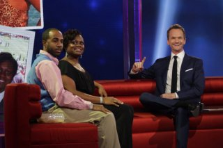 BEST TIME EVER WITH NEIL PATRICK HARRIS -- Episode 101 -- Pictured: (l-r) Oronde Hamilton, Teresha Hamilton, Neil Patrick Harris -- (picture by: Greg Endries/NBC)